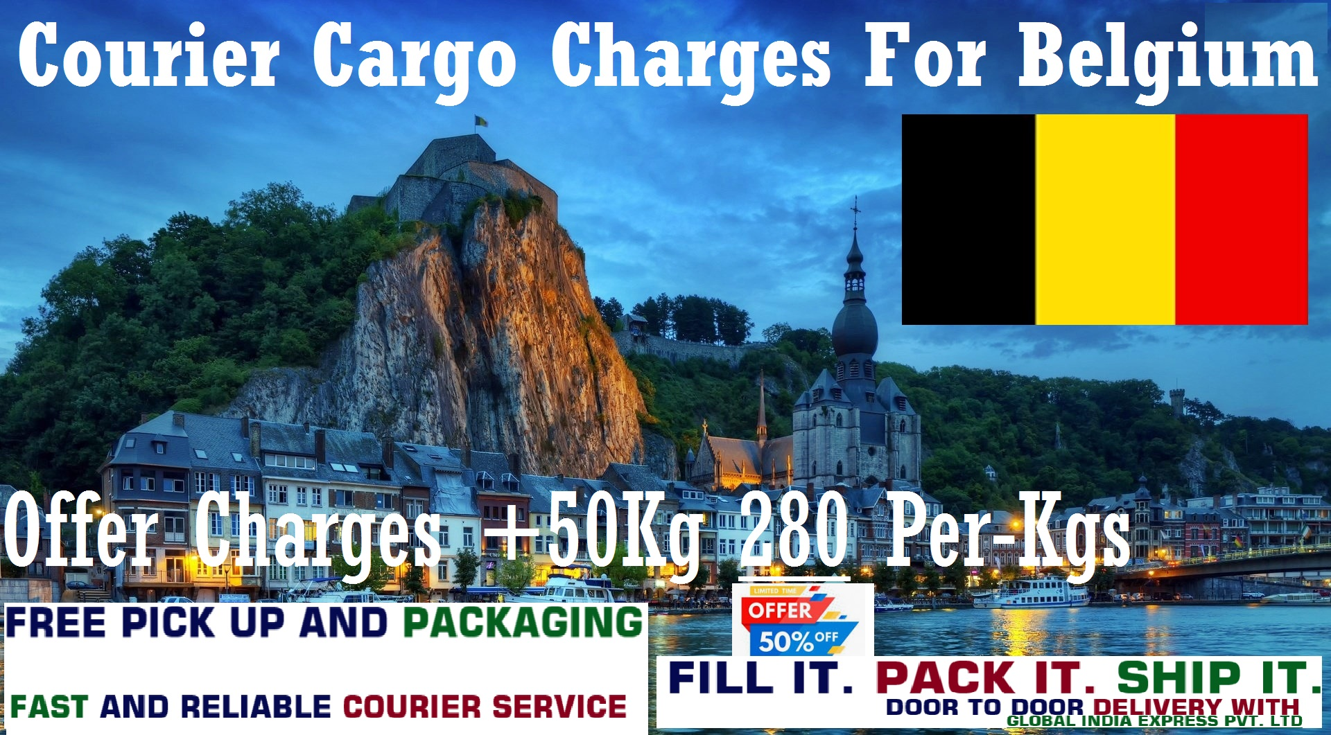 Courier Charges To Charleroi From Delhi, Noida, Faridabad, Ghaziabad, Sahibabad, Jaipur & Mumbai